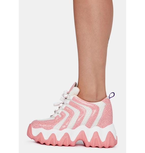 Anthony Wang Baby Pink Chevron Blackberry Platform Sneakers