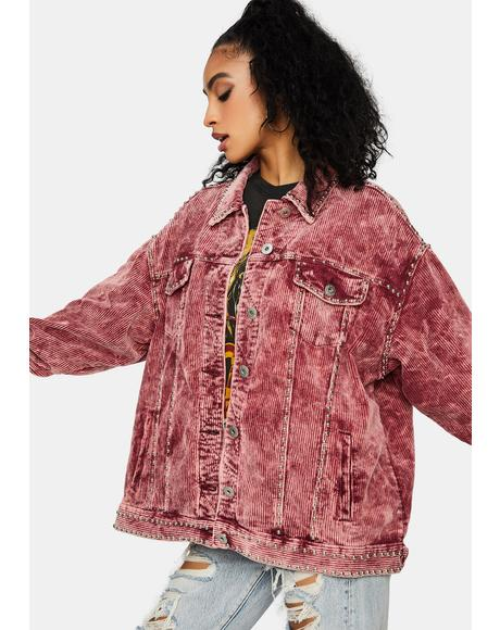 Wine Lasso The Sun Studded Corduroy Jacket