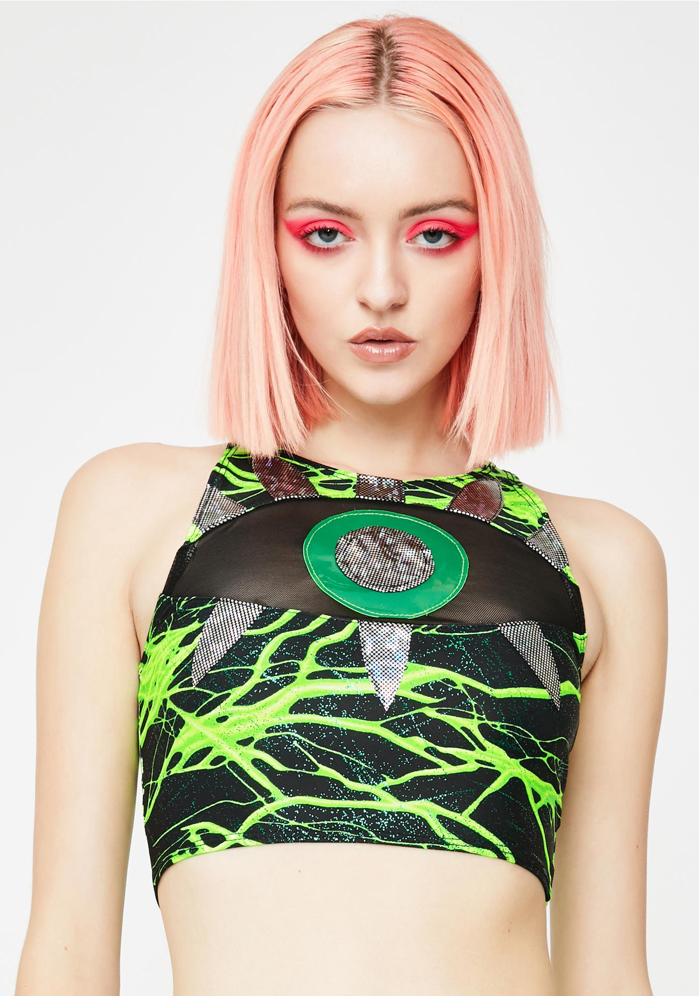 J Valentine Neon Lightning Eyeball Crop Top