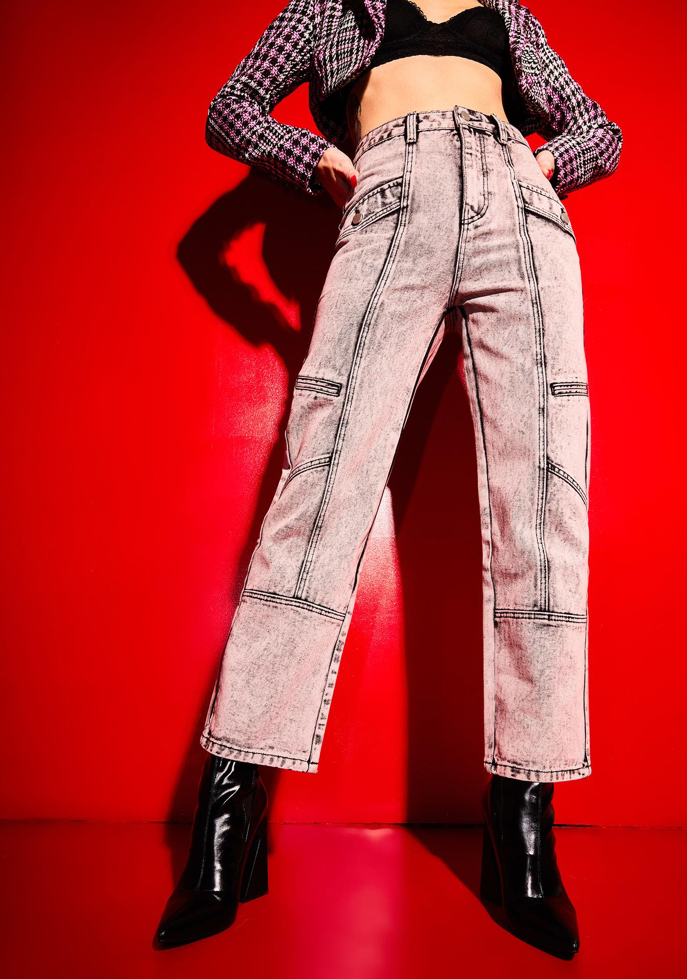 Poster Grl Past Curfew Acid Wash Paneled Trousers