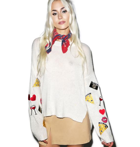 Wildfox Couture Vintage Emoji Dinner Party Sweater