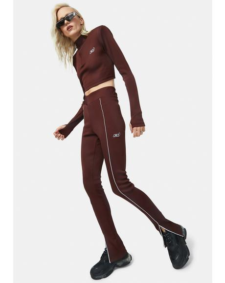 Chocolate Split Seam Front Rib Leggings