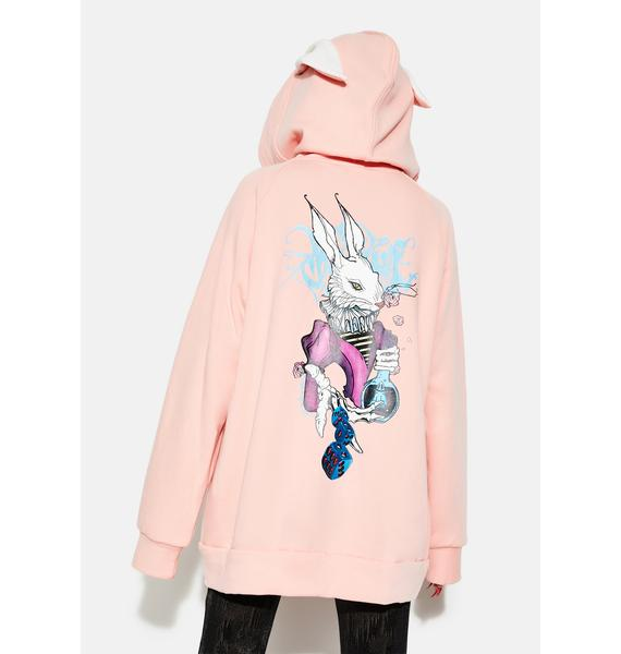 Punk Rave Dark Rabbit Print Coat With Rabbit Ear Hood