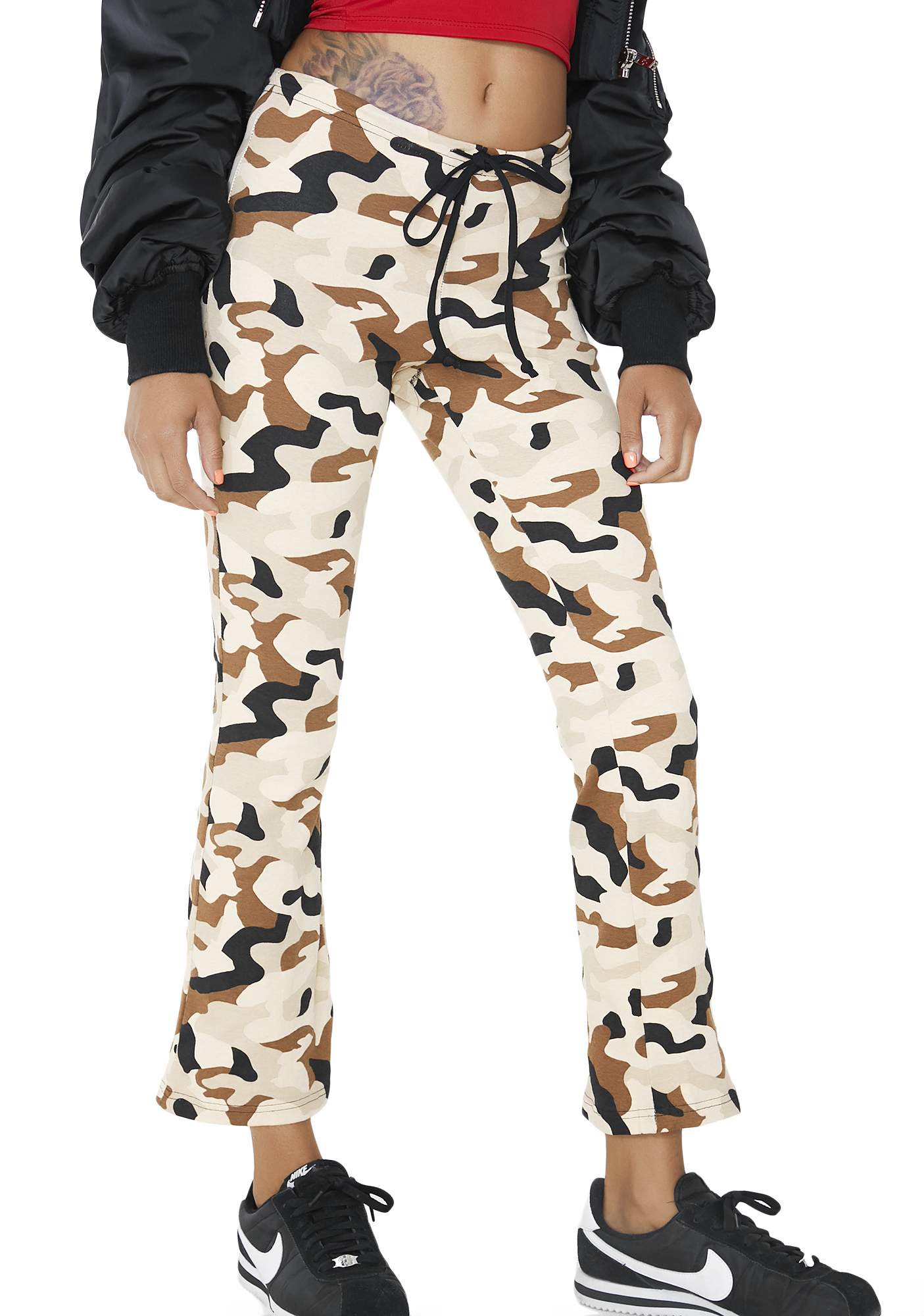 Camoflauge Brown Flare Pants