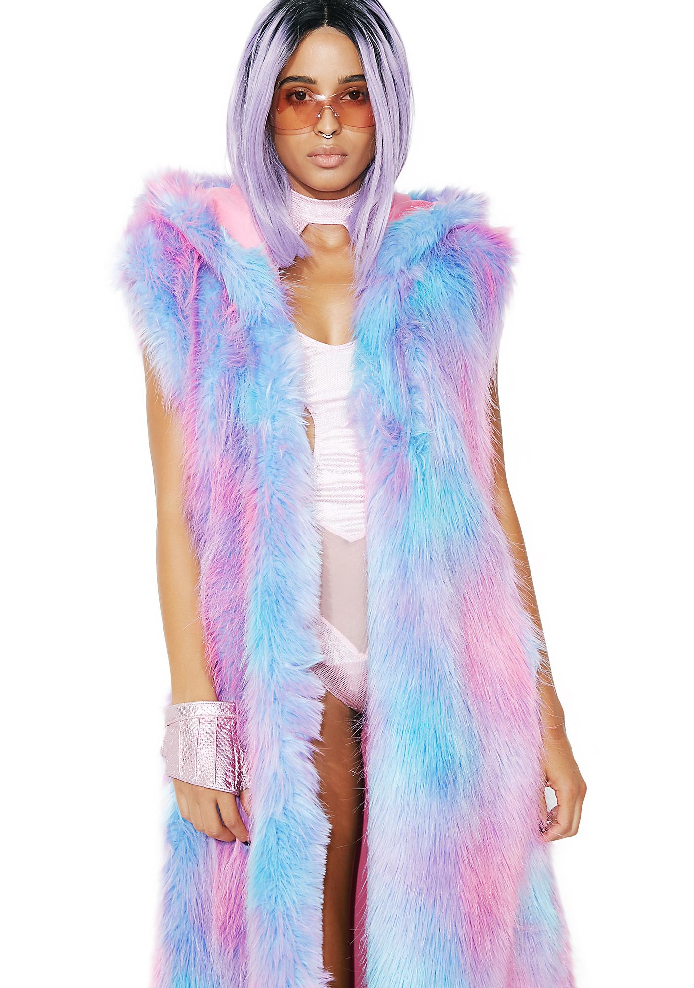 J Valentine Cotton Candy Fur Duster