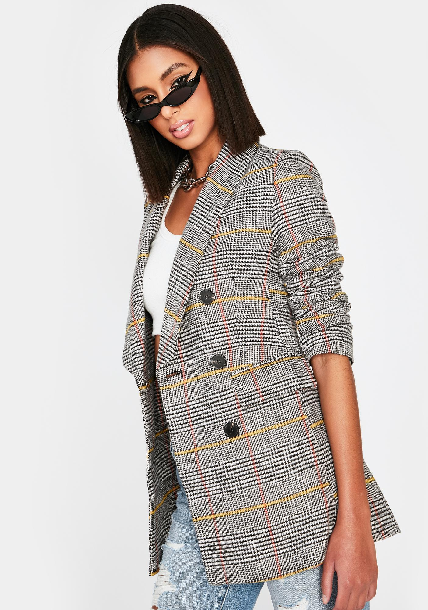 Get To Werk Plaid Blazer