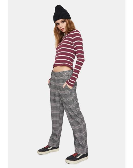 Grey Plaid Work Crop Roll Hem Pants
