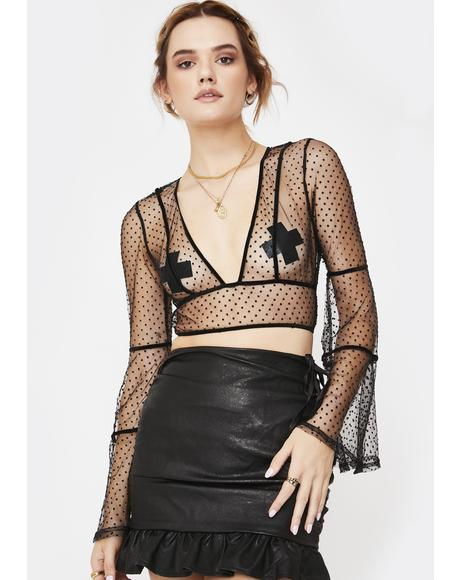 Bell Sleeve Mesh Crop Top