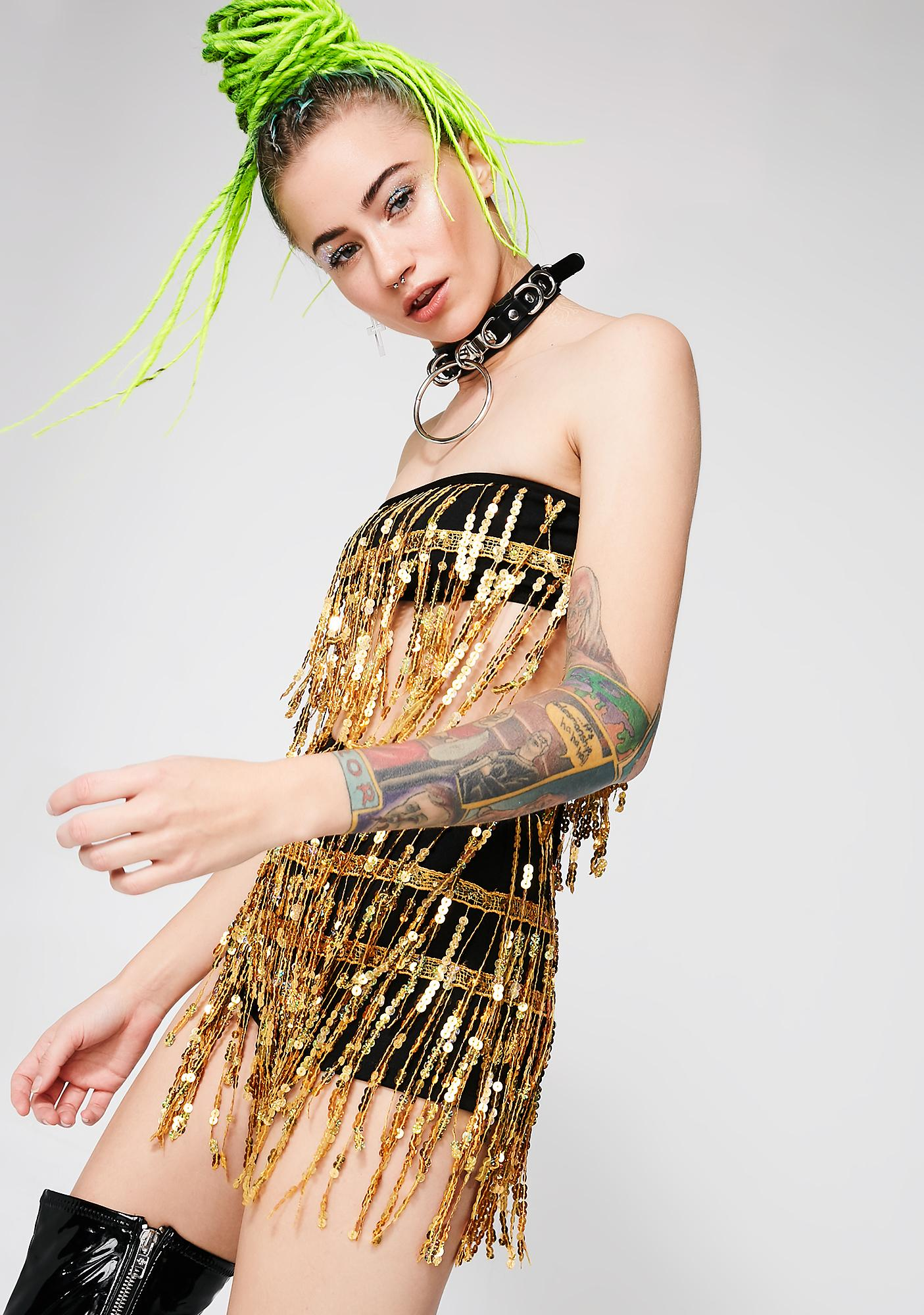 Jaded London Gold Sequin Fringe Hot Pants
