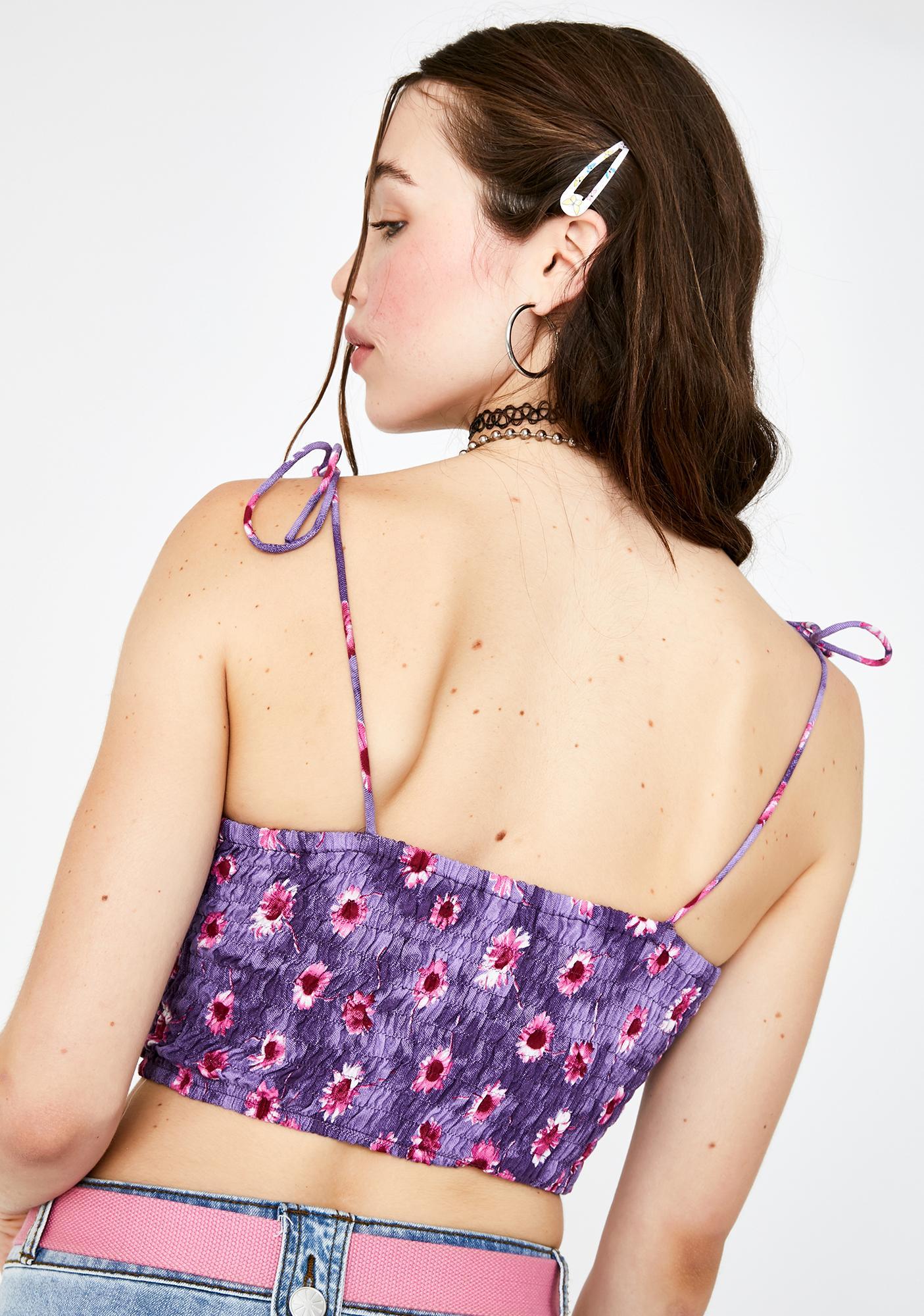 Motel Purple Daisy Kimala Crop Top