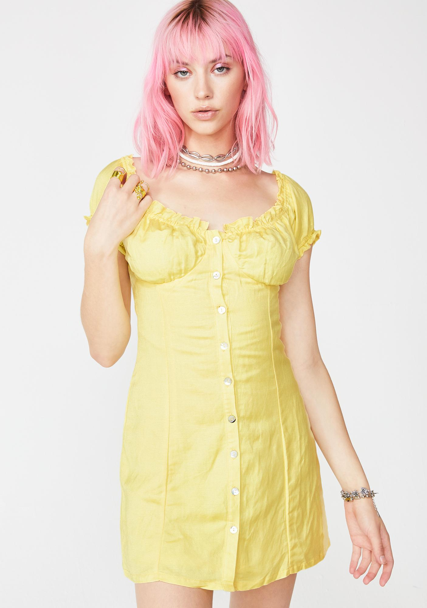 Sunny So Serene Linen Dress