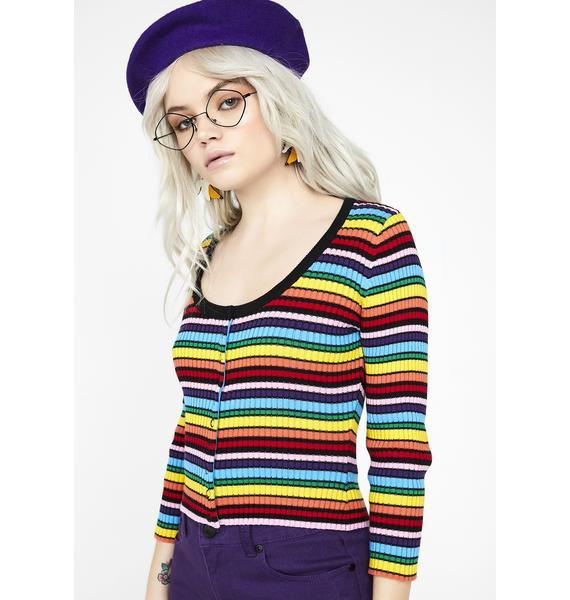 Lazy Oaf Rainbow Rib Scoop Neck Top