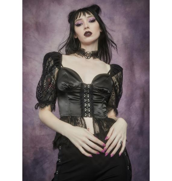 Widow Lost Prophecy Puff Sleeve Corset Top