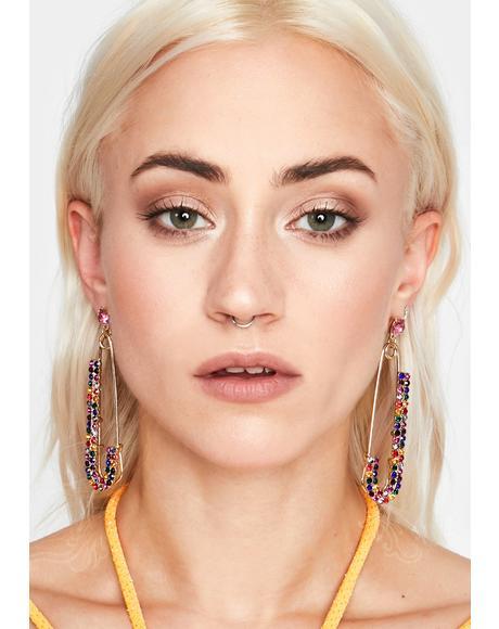 Rainbow Bougie Baddie Safety Pin Earrings