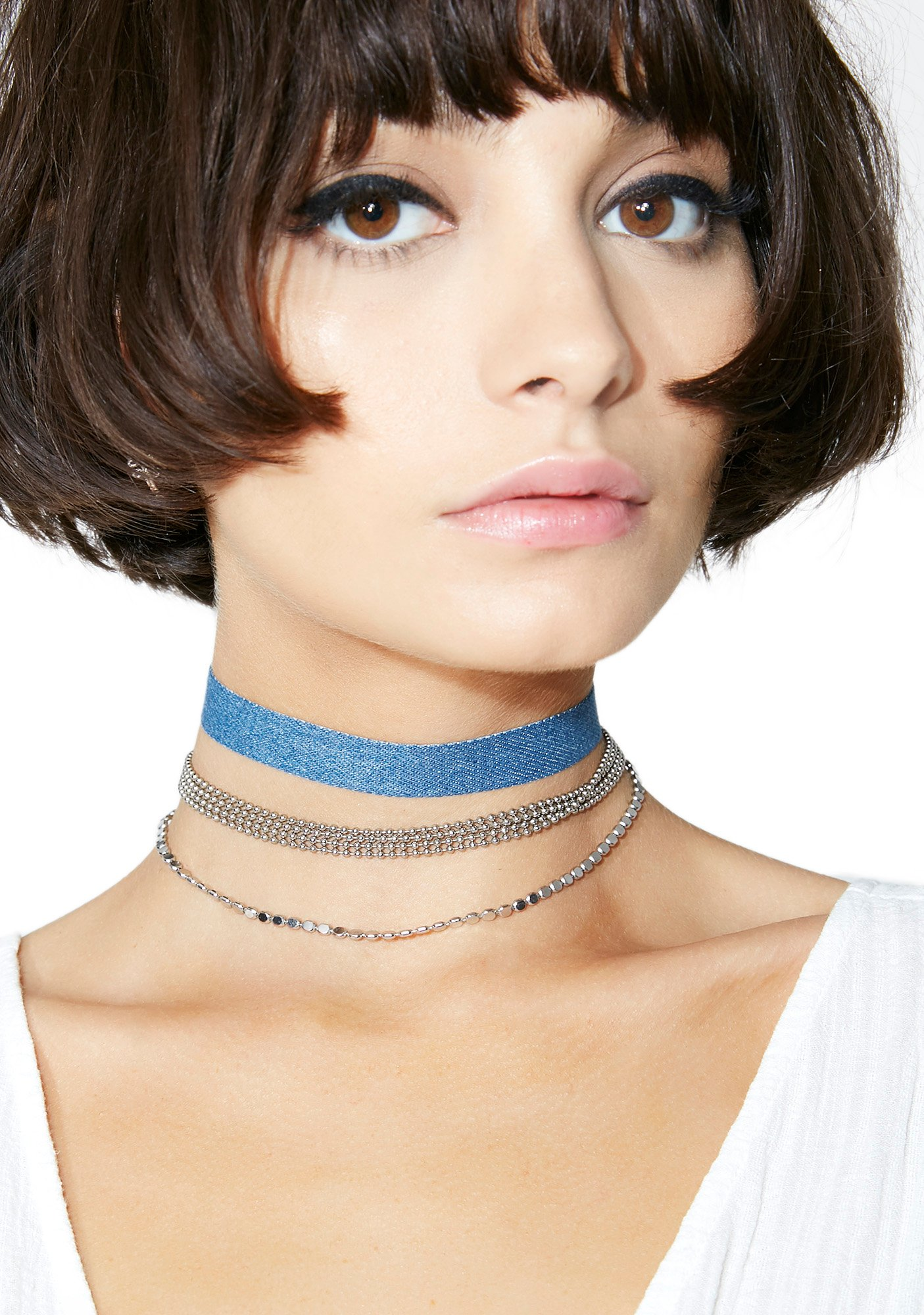 Blue Denim Choker Necklace