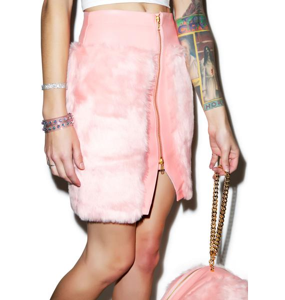 Joyrich Candy Fur Front Zip Skirt