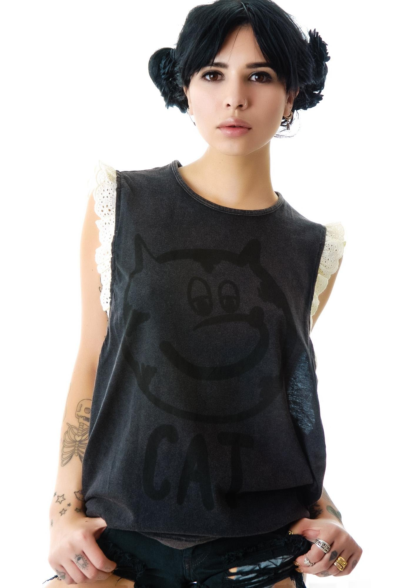 Lazy Oaf Cat Beater Tank Top