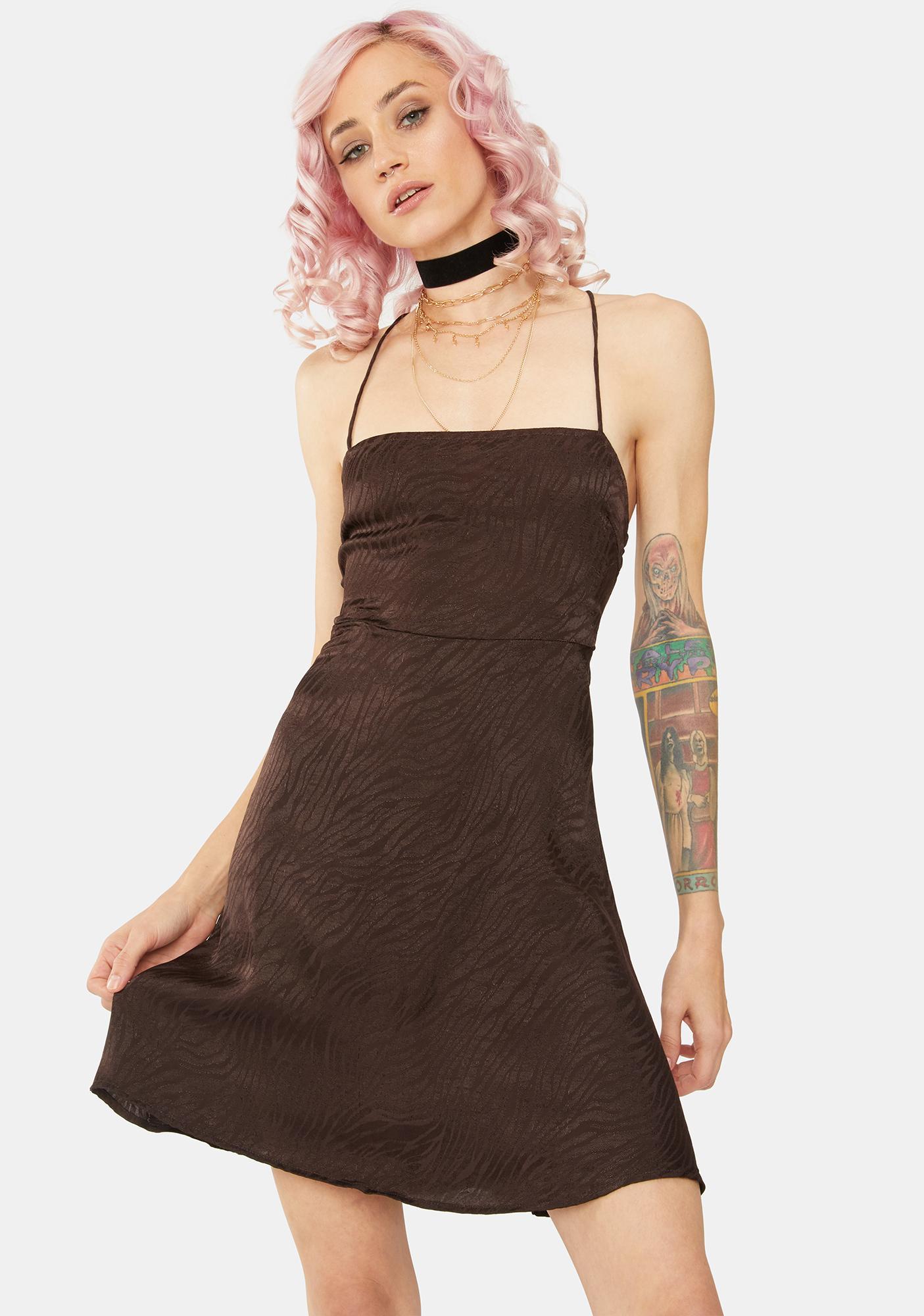 Motel Brown Zebra Enif Mini Dress