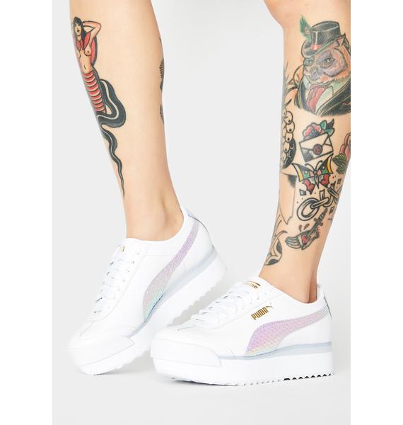 PUMA White Roma Amor Metallic Sports Sneakers