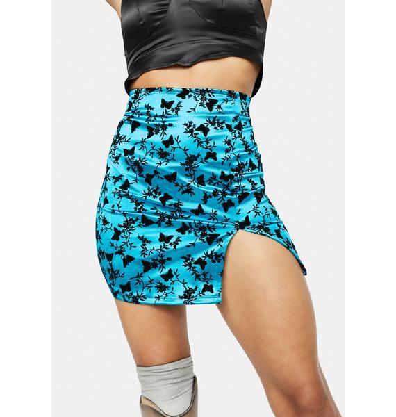 Motel Butterfly Bloom Blue Wren Mini Skirt