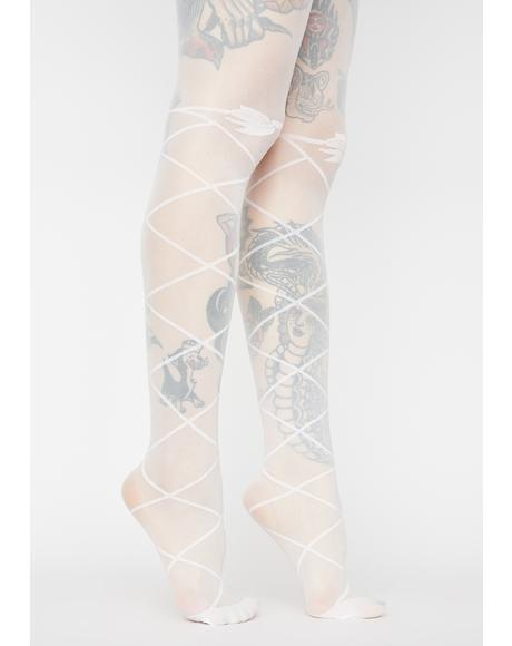 True Romance Graphic Bow Tights
