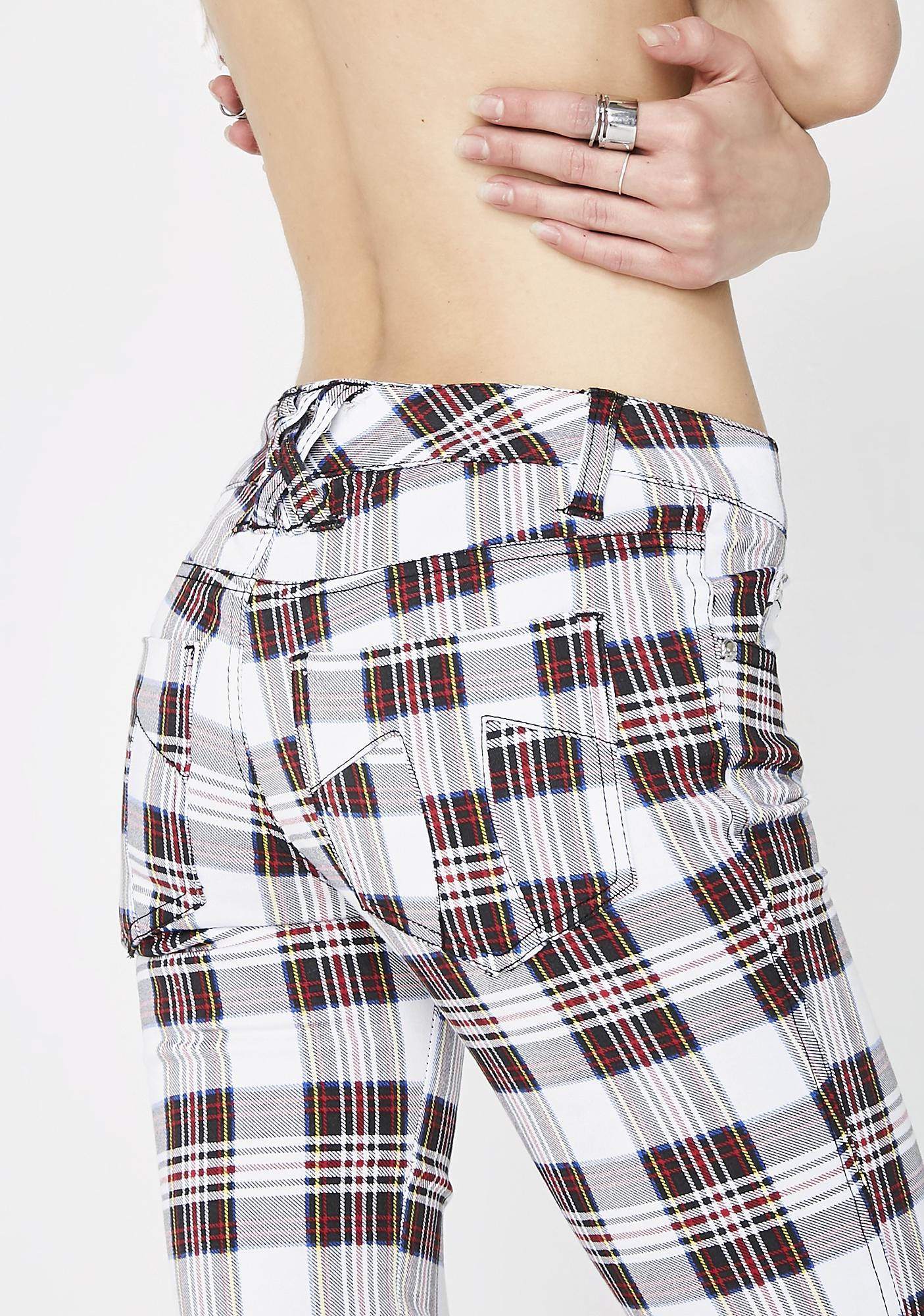 Tripp NYC White Tartan Plaid T-Back Jeans