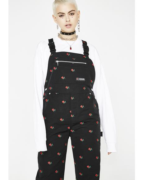 Rose Embroidered Overalls