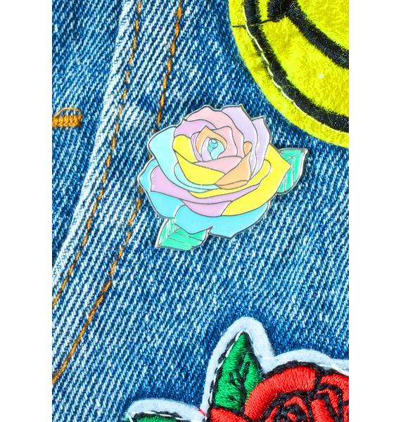 Krystan Saint Cat Pastel Rainbow Rose Pin