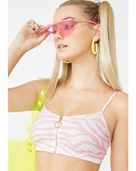 Candyfloss Pink Zebra Crop Top