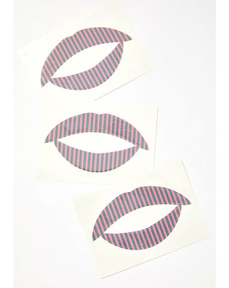 Hot Pink N' Black Stripes Lip Applique