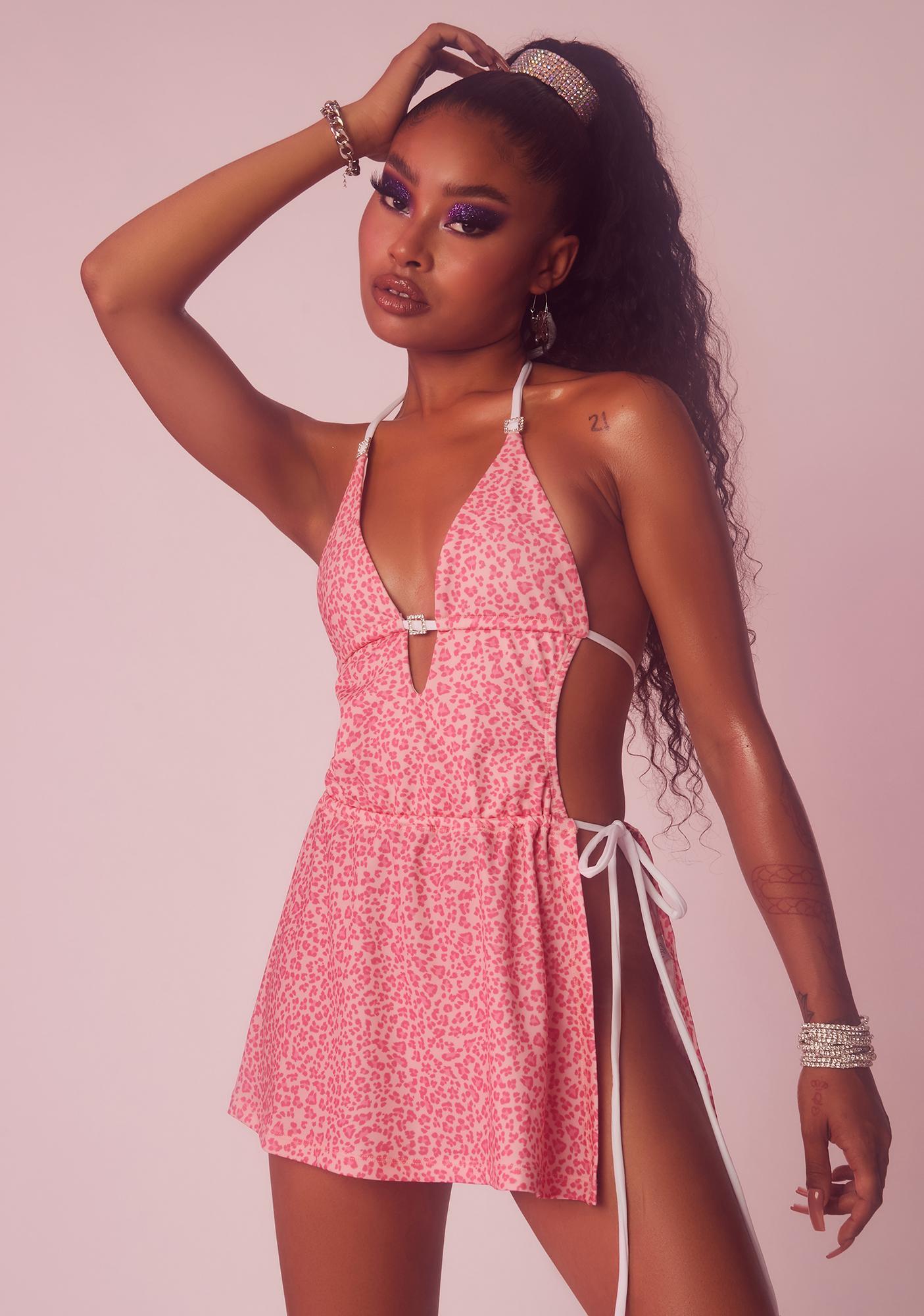 Dolls Kill x Yung Reaper The Sweet Spot Leopard Print Dress