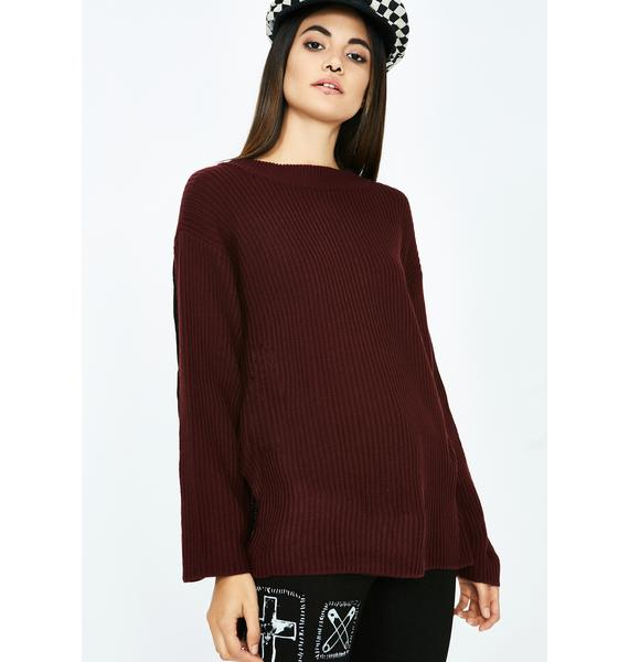 No Good Deed Ribbed Sweater