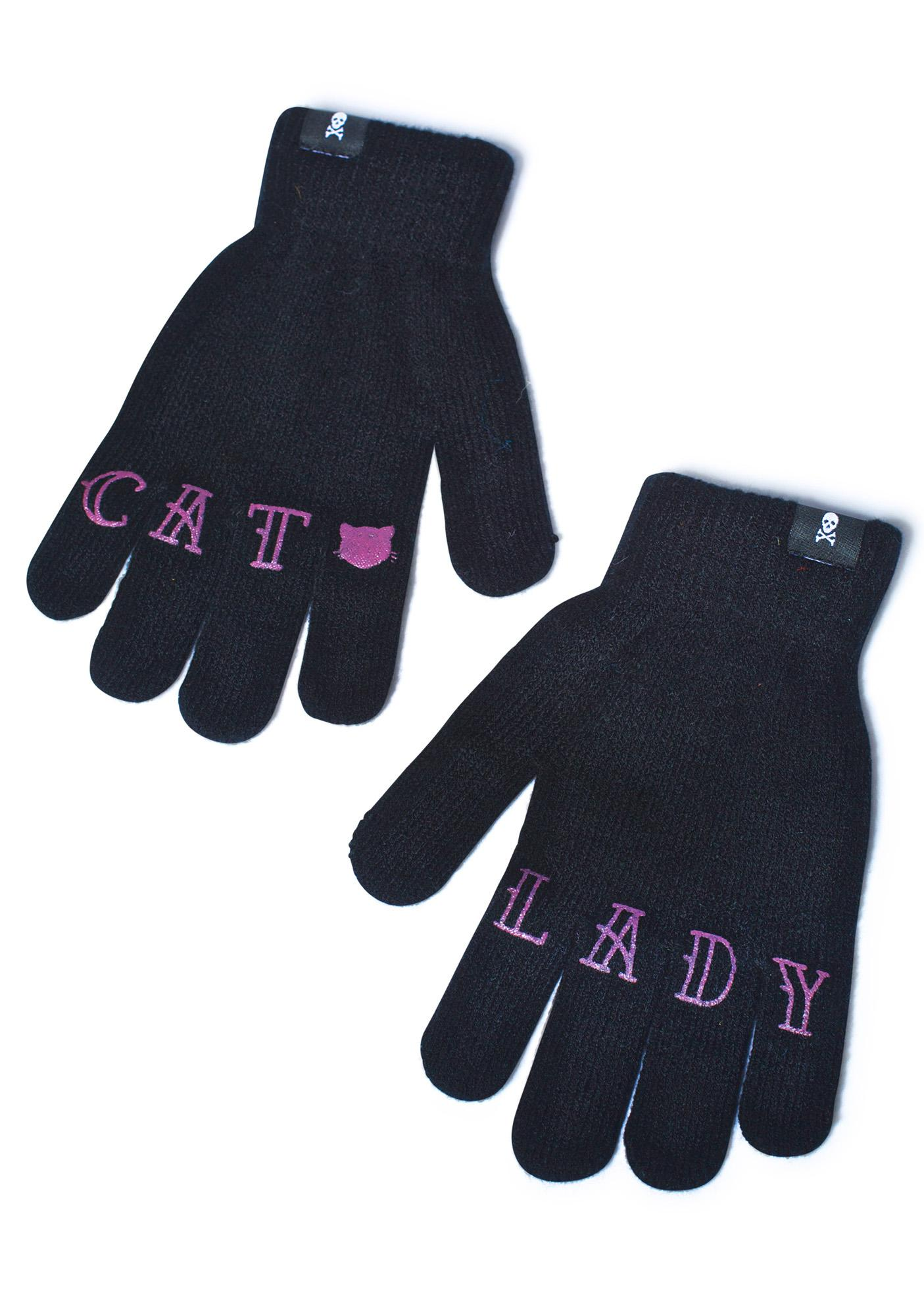 Sourpuss Clothing Cat Lady Knit Gloves