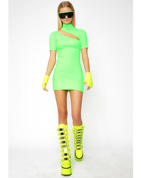 Lime Girls Wanna Have Fun Mini Dress