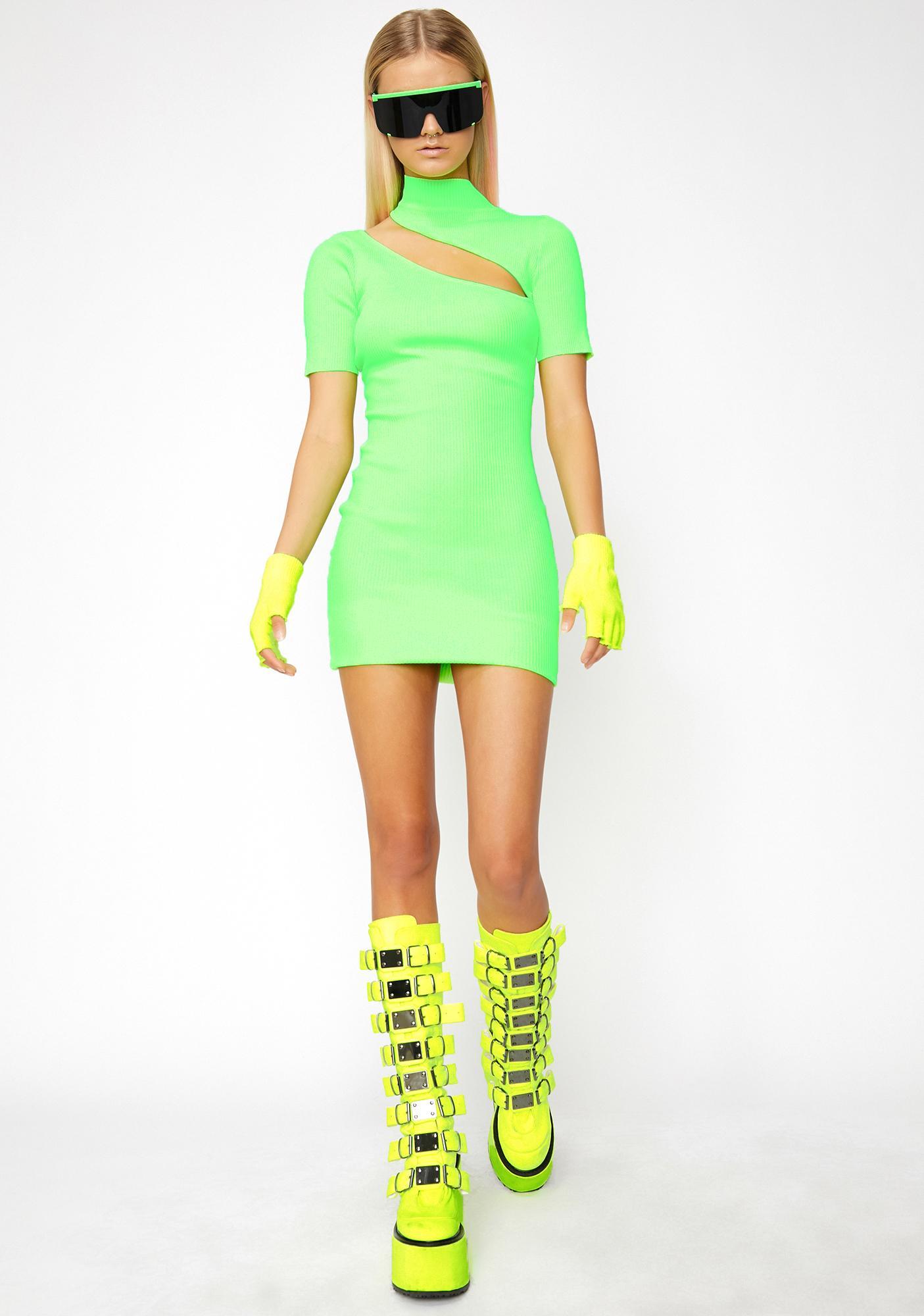 Lime Girls Wanna Have Fun Mini Dress