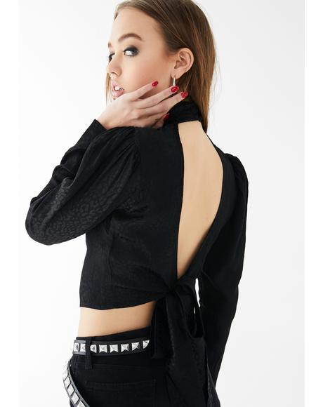 Black Cheetah Jasty Crop Top