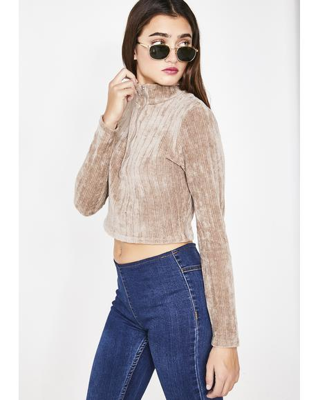 Mocha Get My Drift Cropped Sweater