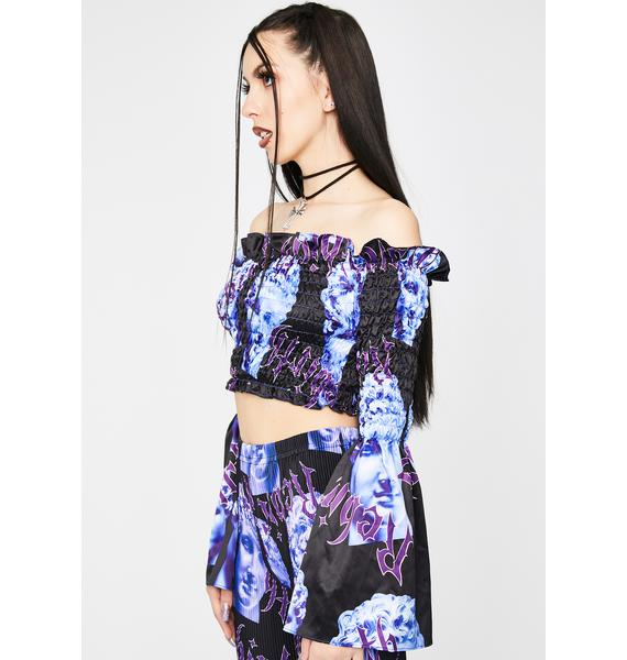 Jaded London Rebirth Statue Shirred Bardot Top