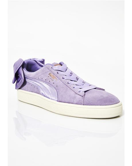 Purple Rose Suede Bow Sneakers