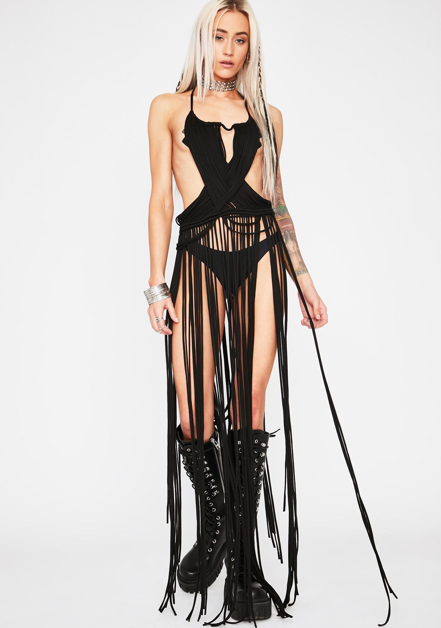 Midnight Lost Mirage Crochet Dress