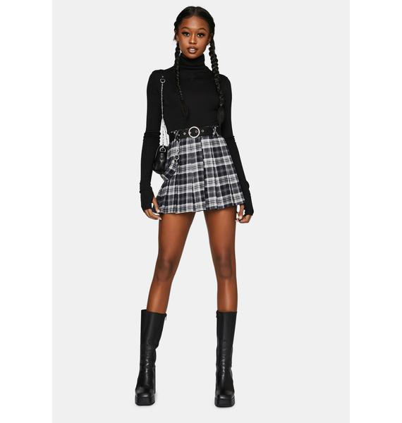 Punk Rave Kitty Moon Belted Plaid Mini Skirt