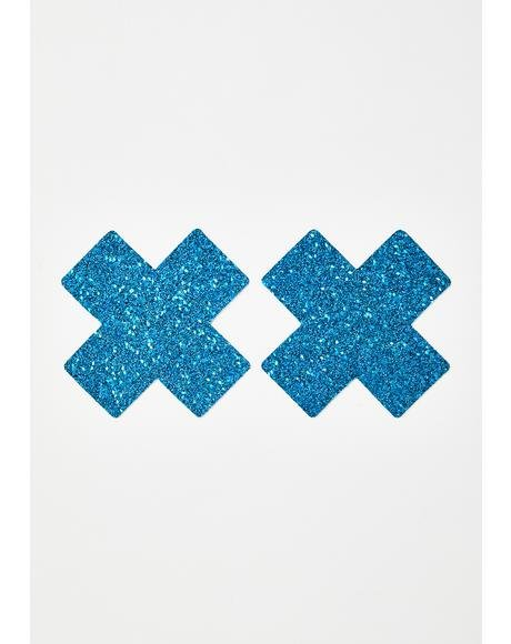 Blue Chunky Glitter Cross Pasties