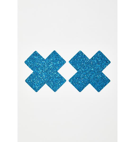 Neva Nude Blue Chunky Glitter Cross Pasties
