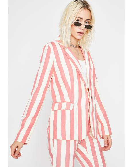 She's All Business Stripe Blazer