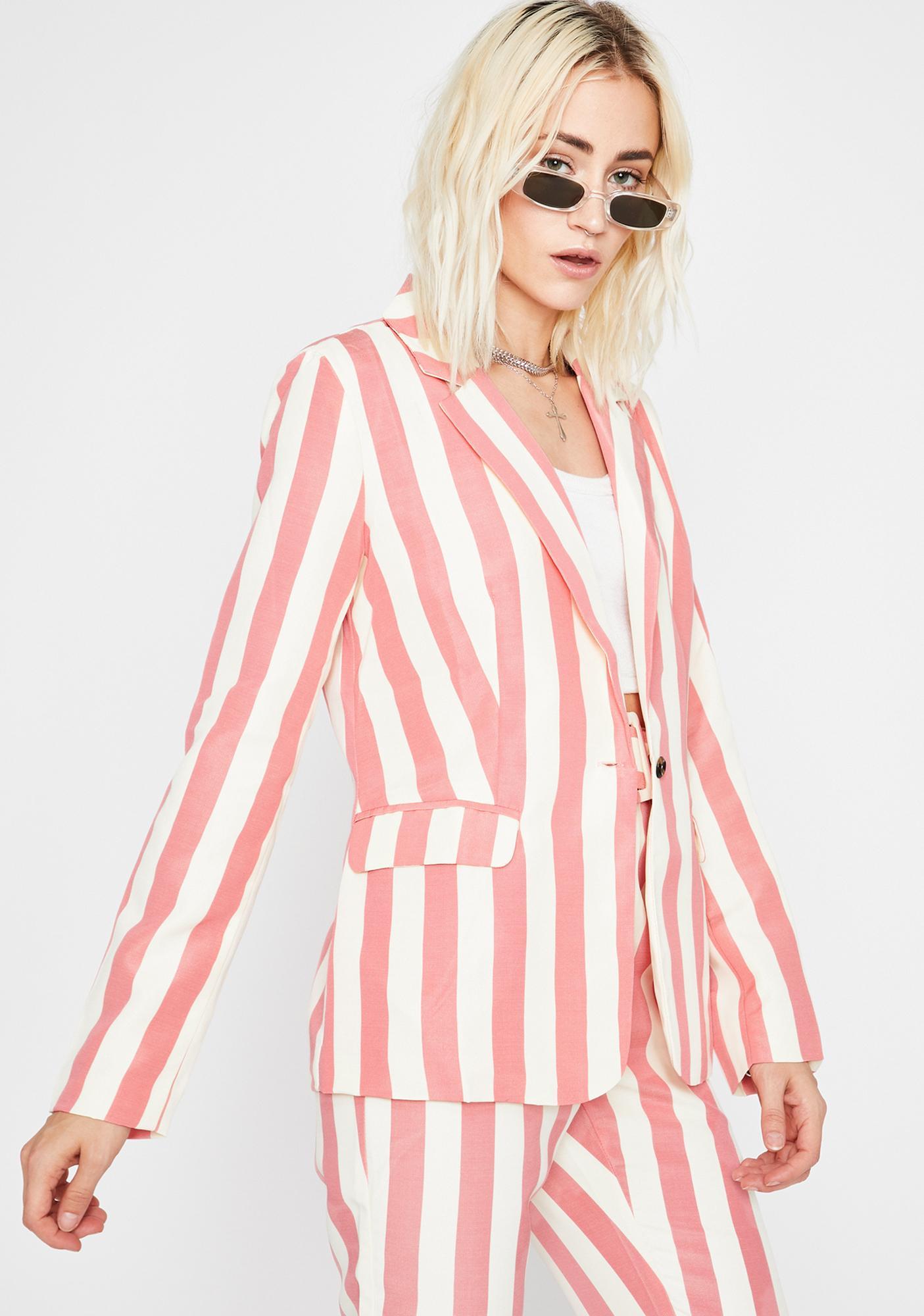 She's All Business Stripe Blazer