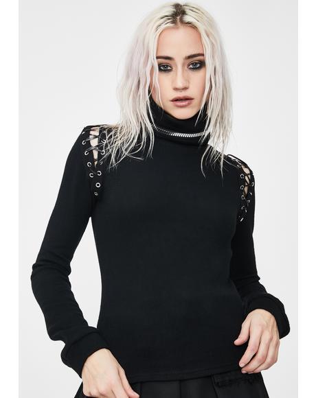 Vampire Collar Long Sleeve Top