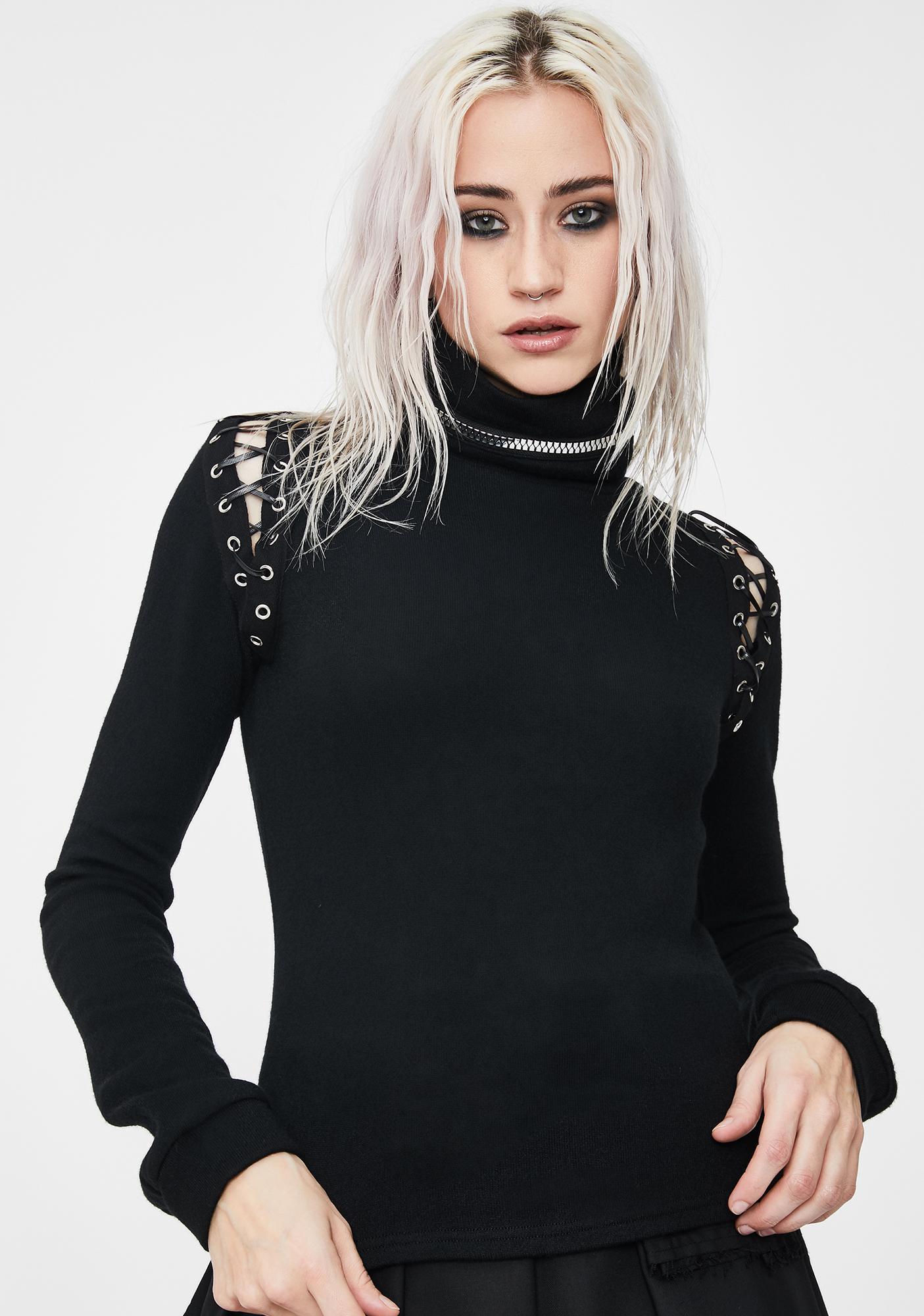 Dark In Love Vampire Collar Long Sleeve Top