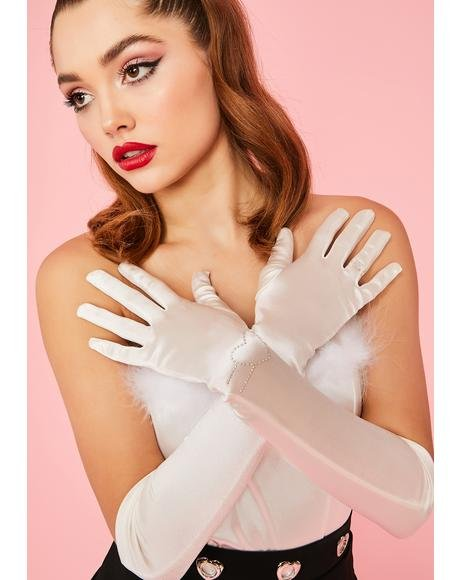 Love Sparkle Rhinestone Satin Gloves