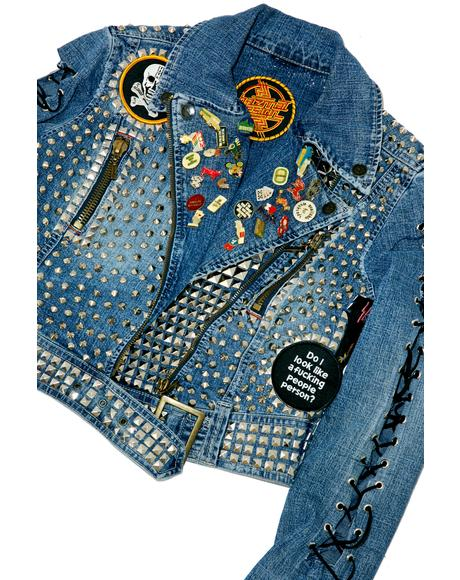 Vintage Deadstock Black Sabbath Studded Denim Jacket