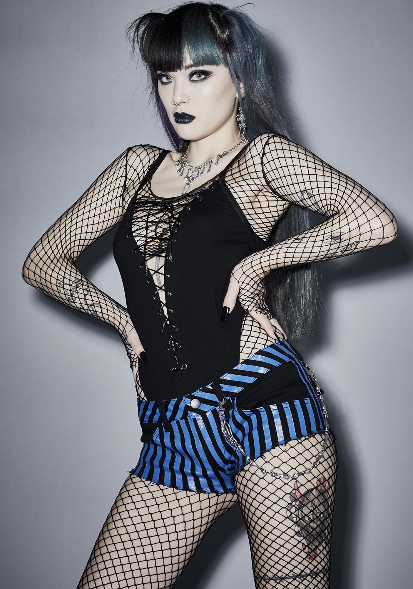 Widow Ghost Town Rebellion Striped Shorts
